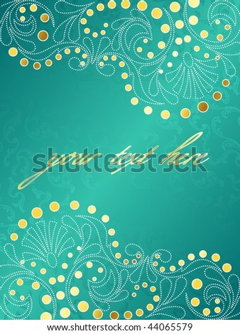 Turquoise background with delicate swirls, vertical (EPS10); JPG version also available - stock vector