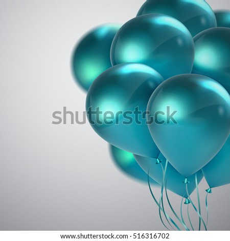 Turquoise Balloon Bunch. Vector Holiday Illustration Of Flying Turquoise Balloons. Birthday Or Other Holiday Event Decoration Element
