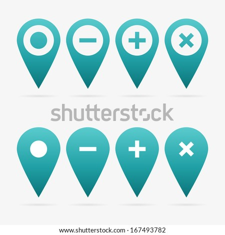 Turquoise clean vector web pointer symbol set