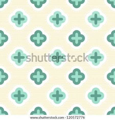 turquoise clover elements on light beige retro seamless pattern - stock vector