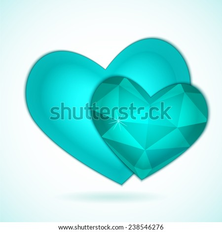 Turquoise  couple diamond abstract hearts isolated on a white background. Vector illustration for valentine or wedding - stock vector