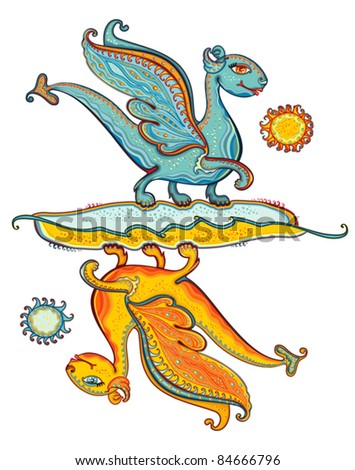 Turquoise dragon and yellow dragon. Dragons of ocean and the sun. Mythological characters.
