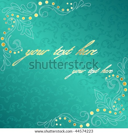 Turquoise frame with delicate sari inspired swirls (EPS10); JPG version also available - stock vector
