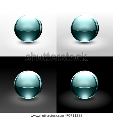 Turquoise glassy ball with shadow and glowing on white, gray and black background. This vector created in the technique of wire mesh and saved eps 10 - stock vector