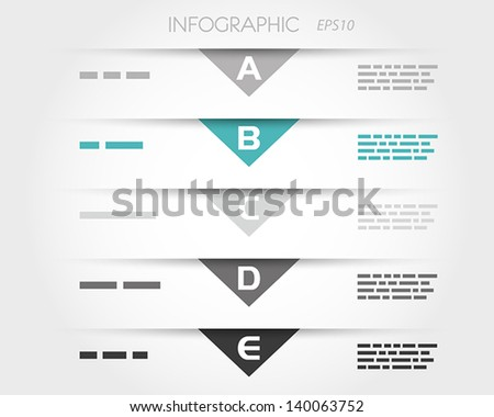 turquoise transparent triangular infographic five options. infographic concept. - stock vector