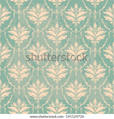 turquoise vintage wallpaper with texture - stock vector