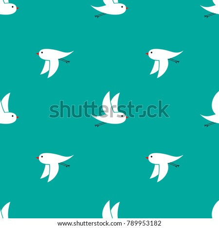 Turquoise Wallpaper Flying Small White Birdies