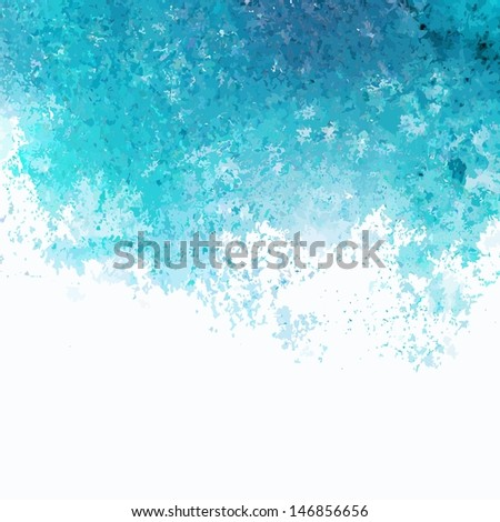 Turquoise watercolor background. Vector watercolor splash background. Grunge watercolor spots. - stock vector