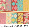 turquoise, yellow, pink, red, beige - stock photo