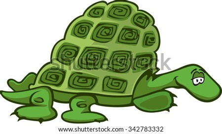Turtle A cartoon Green Turtle. Vector file available. - stock vector