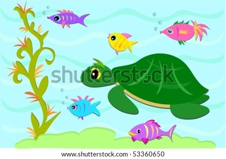 Turtle and Fish Friends Vector