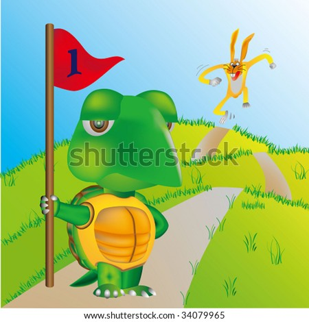 turtle and rabbit running a race - stock vector