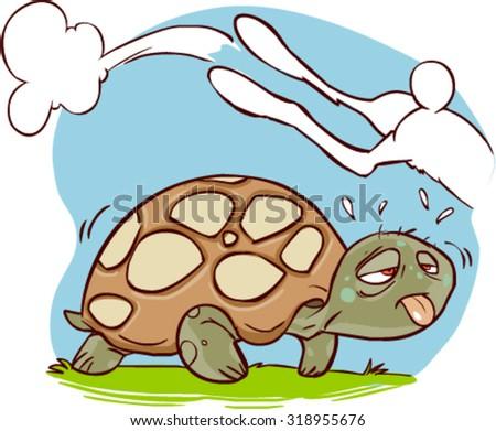 turtle and speed rabbit - stock vector