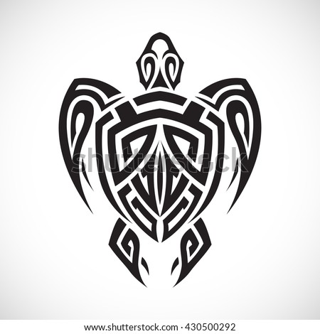 Turtle in a tribal on a white background. - stock vector
