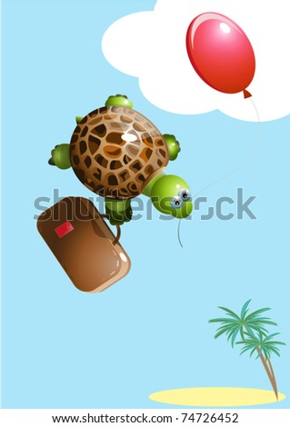 turtle with a balloon - stock vector