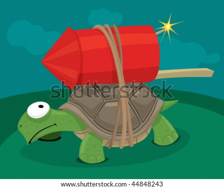 Turtle with a rocket. - stock vector