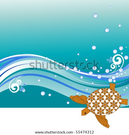 Turtle with waves copyspace - stock vector