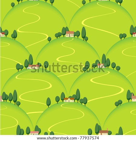 tuscan landscape, country house on hill - stock vector