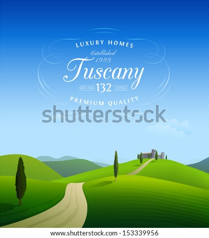 Tuscany landscape background with calligraphic vintage label - stock vector