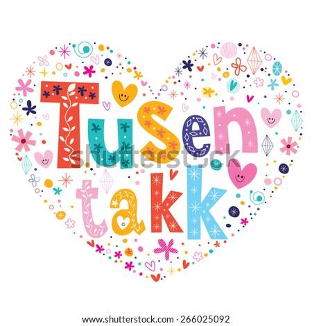 tusen takk thank you very much - many thanks Norwegian heart shaped ...