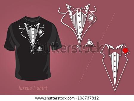 Tuxedo t-shirt vector design illustration - stock vector