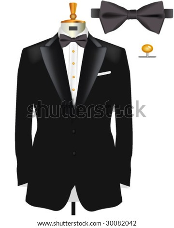 Tuxedo with Bow Tie - Vector Illustration made with gradient meshes - stock vector