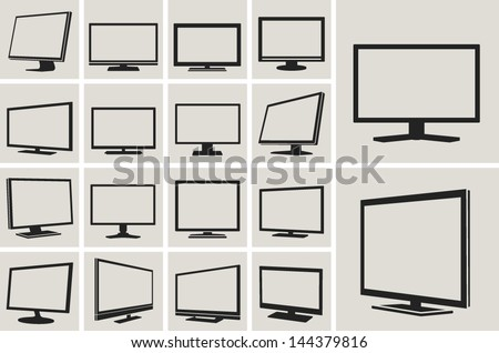 tv and monitor web vector icons set - stock vector