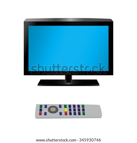 TV and remote control. Illustration, elements for design. - stock vector