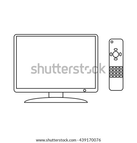 TV and remote icon, outline style - stock vector