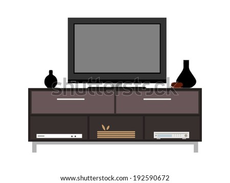 TV and TV table in living room - Vector format
