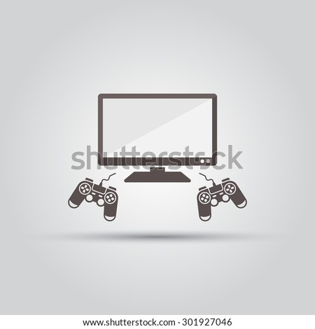 TV and two game controllers, gamepads and lcd television isolated vector icon - stock vector