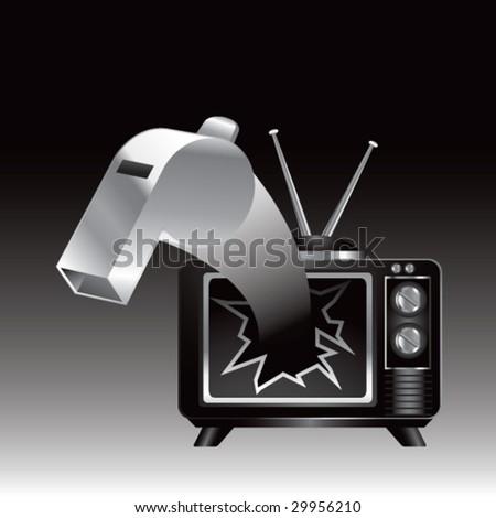 tv broken by whistle - stock vector
