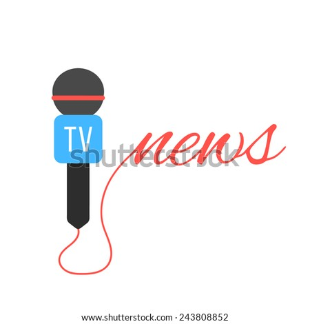 tv channel microphone with news lettering. concept of journalism, live news, interview and breaking news. isolated on white background. flat style trendy modern logotype design vector illustration - stock vector