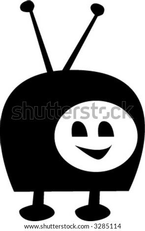 TV Character - fully editable vector drawing - stock vector