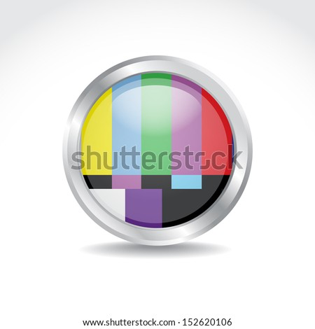 TV color test image in glossy button - illustration - stock vector