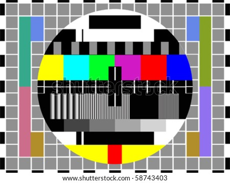 tv color test pattern - test card, vector - stock vector