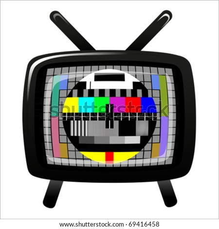 tv - color test pattern - test card, vector - stock vector