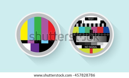 Tv colour test, analog and digital symbols in a flat design. - Stock vector