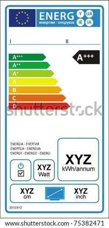 TV energy rating graph label in vector.