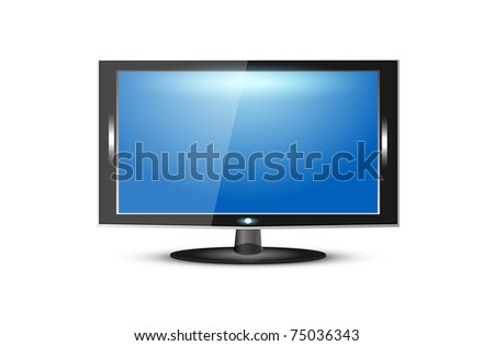 TV flat screen lcd, plasma realistic vector, 10eps - stock vector