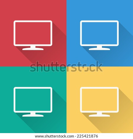 TV icon , flat design on 4 color background - stock vector