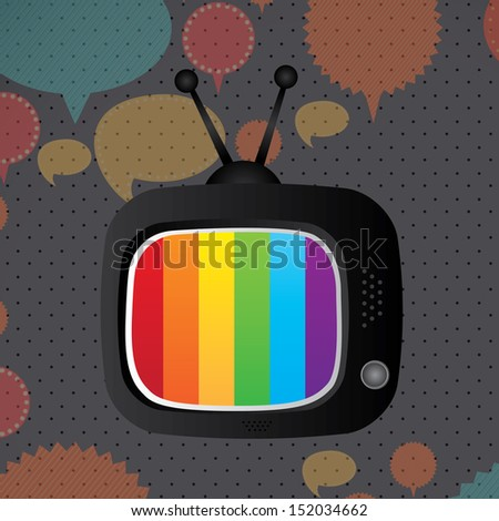 tv icon over dotted background  vector illustration - stock vector
