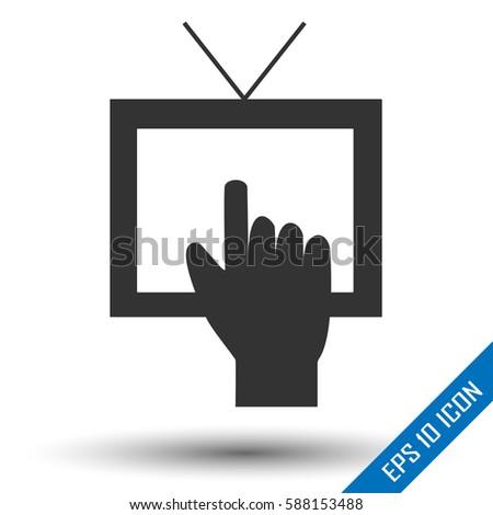 tv icon tv set logo picture stock vector 588153488