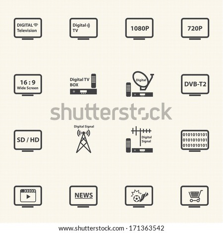 TV icons set, Digital Television - stock vector