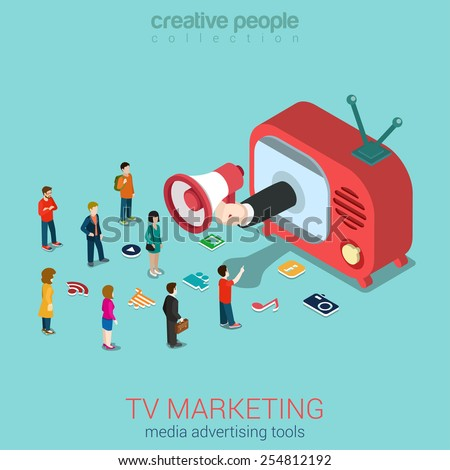 TV marketing advertisement shopping sale flat 3d web isometric infographic concept vector. Hand loudspeaker sticks from retro antenna TV-set micro people and service icons. Creative people collection. - stock vector