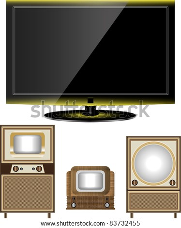tv old and new - stock vector