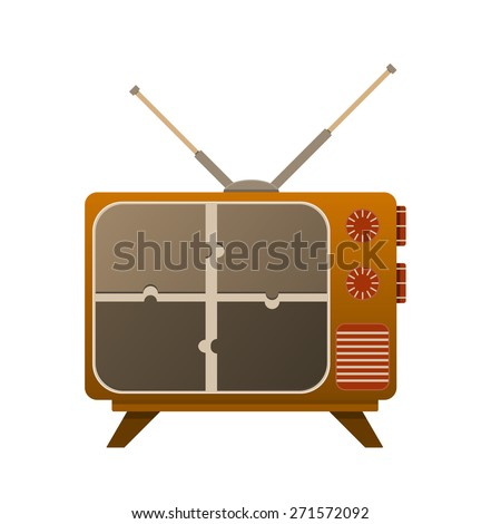 TV old look, with a broken screen on puzzle. With the antenna on it. - stock vector