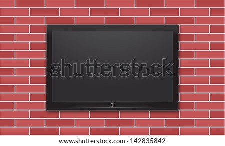 tv on brick wall - stock vector