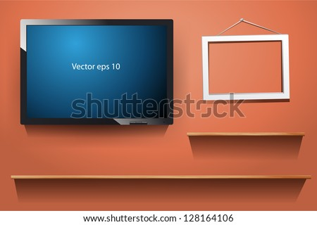 tv on wall, with wood shelf, white photo frame, Vector illustration - stock vector