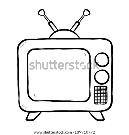 TV or television / cartoon vector and illustration, black and white, hand drawn, sketch style, isolated on white background. - stock vector